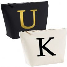 Single Letter Printed Make Up Wash Bag - Alphabet A-Z Initial Travel Accessory